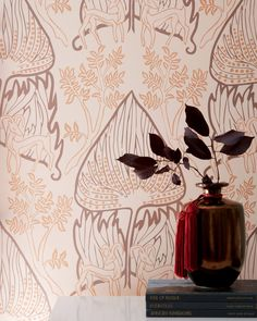 ARABIAN NIGHTS Marrakesh Clay coated wallpaper by Relativity Textiles. Hand screen printed in the USA