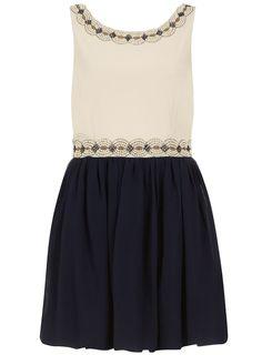 Stone/navy embellished dress