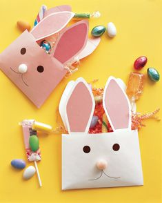 """Say """"Happy Easter"""" with paper-envelope rabbits bearing treats. They also make a great Easter basket addition or kids' table favor."""