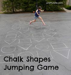 This jumping game is made by drawing chalk shapes outside. Join us for some gross motor fun!