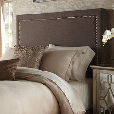 Square Nail Head Upholstered Headboard | from hayneedle.com