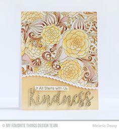 Floral Fantasy Background, Kind Words Stamp Set, Kind & Kindness Die-namics, Stitched Scallop Basic Edges 2 Die-namics - Melania Deasy  #mftstamps
