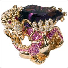 """Victoire de Castellane / Dragon Ring from """"Coffret de Victoire"""" collection - yellow gold, amethyst, diamonds, sapphires, rubies and pearl."""