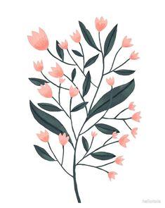 'Romantic Flowers' by hallotoia Plant Illustration, Botanical Illustration, Flower Illustration Pattern, Floral Drawing, Floral Artwork, Guache, Romantic Flowers, Motif Floral, Gouache Painting