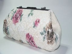 Wedding roses clutch , Purse bag for special occasion, Ivory wedding felted merino wool clutch on Etsy, $107.00