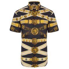 Versus Versace Belt Print Short Sleeved Shirt   GarmentQuarter $329.34
