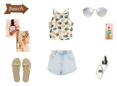 """""""Summer"""" by wapayo ❤ liked on Polyvore featuring WithChic, Topshop, Havaianas, Ray-Ban, Mud Pie, Umbra, Francesca's and The Casery"""