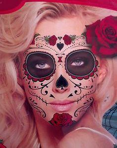 Day of the Dead Costumes | Day-of-the-Dead-Dead-Roses-Full-Face-Temporary-Tattoo-Costume ...