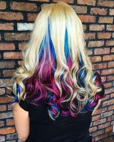 Blonde blue purple dyed hair
