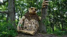 Giant Wooden Trolls Make Mischief in an Enchanting Outdoor Museum Installation Art, Art Installations, Farm Yard, Environmental Art, Garden Art, Troll, Art History, Amazing Art, The Past