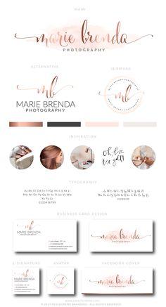 Watercolor Logo Design, Custom Logo Design, Rose gold Branding kit Logo Design Premade Branding Package, stamp,  Photography Logo, watermark by PeachCreme on Etsy
