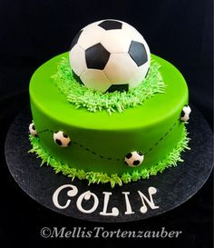 Soccer birthday cake and cupcakes This soccer cake was for my big boy's birthday. He loves to play soccer. Football Birthday Cake, Soccer Birthday Parties, Cool Birthday Cakes, Birthday Cupcakes, 8th Birthday, Soccer Party, Football Cakes For Boys, Football Cupcakes, Bolo Sporting
