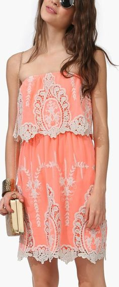embroidered neon dress