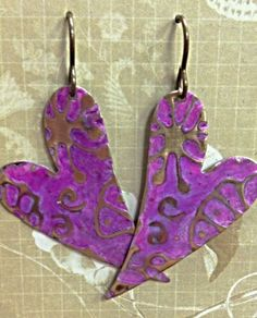 Embossed Heart Earrings | Hand embossed and hand patina'd, made with love!  | Boutique 208 - Pittsburgh, PA