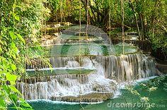 Photo about Beautiful scenic of Huaymaekamin Waterfall in Kanchanaburi, Thailand. Image of jungle, travel, nature - 88339615 Thailand, Waterfall, Stock Photos, Nature, Travel, Outdoor, Image, Beautiful, Outdoors