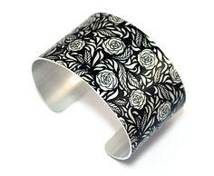 Cuff bracelet, feminine floral bangle, black & brushed silver flowers - C129 £19.50