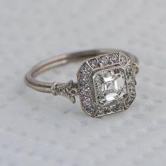 Vintage Asscher Cut Diamond Engagement Ring – Diamond Halo – 1.01 carat – GIA – VS1 clarity – G color – Estate Diamond Jewelry
