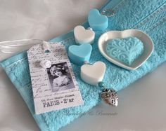 Gastendoekje met zeepketting, label, hartje & schaaltje in vele kleurtjes | Badkamer | Joy@home