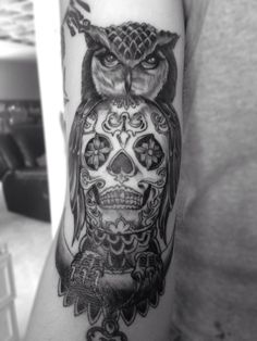 Owl sugar skull tattoo.