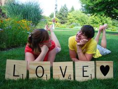 What could be better than giant scrabble tiles?! I wish I saw this before our wedding-would have been GREAT pictures :)