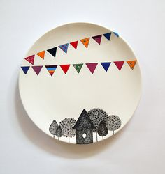 Village Wall Plate Small size by ZuppaAtelier on Etsy Ceramic Clay, Ceramic Painting, Ceramic Plates, Hanging Plates, Plates On Wall, Plate Wall, Pottery Plates, Ceramic Pottery, Hand Painted Plates