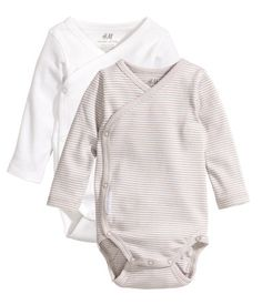 H&M Conscious Collection Organic Cotton 2-pack Bodysuits, $12.99 /pack (3 Sets Needed, Colors: Beige, Light Blue, White; Sizes 1-2mo, 2-4mo, 4-6 mo (in any combo))