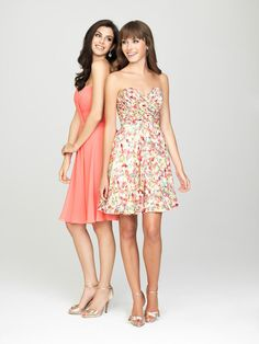 0ed5fc1a3a Allure 1439 Subtle Floral Short Bridesmaid Dress - French Novelty Printed Bridesmaid  Dresses
