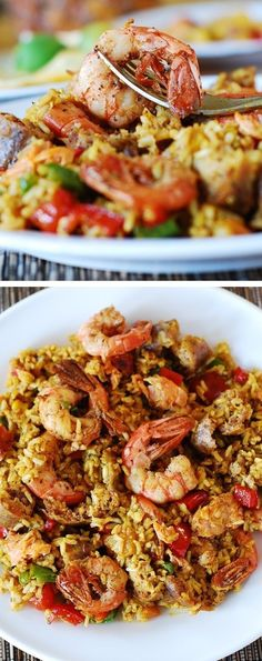 Easy paella with chicken, shrimp and sausage.