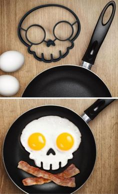 This funny side up egg ring creates an attractive fried egg art that looks like a dangerous skull. Just place it in the frying pan, crack two eggs into the ring and get amazing funny shaped fried egg art in seconds for a wonderful breakfast.