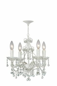 Paris Flea Market Mini Chandelier in White with Clear Crystals...this could get out of control