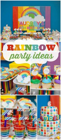 This rainbow dessert buffet is bursting with colors and flavors! See more party ideas at CatchMyParty.com!