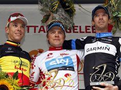 Edvald Boasson Hagen, with David Millar and Phillipe Gilbert