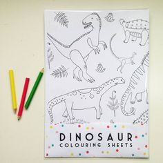 dinosaur colouring sheets by stacie swift | notonthehighstreet.com