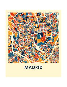 Madrid Map Print Full Color Map Poster by iLikeMaps on Etsy