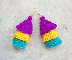 Three Tier Bright Colored Tassel Earrings