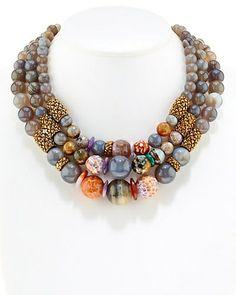 Stephen Dweck Bronze Gemstone Bib Necklace