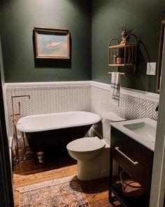 adding dark green bathroom interior tiles to your bathroom 1 Bathroom Renos, Bathroom Renovations, Bathroom Interior, Home Renovation, Bathroom Tubs, Bathroom Tile Walls, Green Bathroom Paint, Bathroom Ideas, Shower Ideas