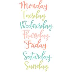 Days of the Week Set SVG
