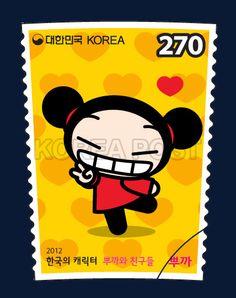 Korean-Made Characters Series Stamps (2nd), Pucca, Pucca and her friends, Korean Character, Character, Story, black, Red, Yellow, 2012 02 22, 한국의 캐릭터 시리즈우표(두 번째 묶음), 2012년 2월 22일, 2842, 뿌까, postage 우표