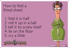 How to fold a fitted sheet...lol