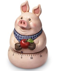 Chubby Country Pig W/ Apple Kitchen Timer
