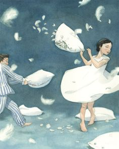 Quentin Greban / my Mama used to say that the angels were having a pillow fight when it started to snow or that Mother Goose was plucking her feathers! Texture Images, Pillow Fight, Pillow Talk, Fairytale Art, Children's Book Illustration, Illustrators, Fairy Tales, Concept Art, Art Drawings
