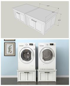 DIY Washer & Dryer Pedestals Pin :: At buildsomething.com, you'll find FREE PLANS for great projects that are organized by space and by type, which makes it really easy to find the inspiration you want, plus the step-by-step instruction you need to turn that inspiration into reality.