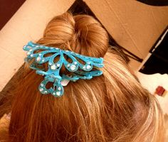 Beautiful hand-done hair clip. Comes in the aqua blue hue and many others, perfect for summertime. www.bonnieroseman.com