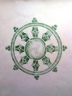 Dharmacakra dotwork tattoo design by SkyThestral15460.deviantart.com on @DeviantArt