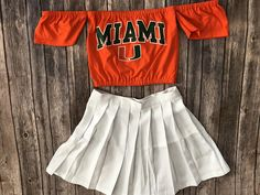 Miami Hurricanes Off The Shoulder Crop Top / Game Day / Tailgate / Football Shirt / Game Day Clothing / Game Day Shirt Ut Football, Football Shirts, College Outfits, College Clothing, Tailgate Outfit, College Game Days, Game Day Shirts, Cap And Gown, University Of Miami