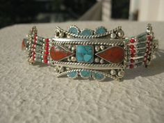 Ethnic Tribal Tibetan Bracelet With 925 Silver Overlay Studded Turquoise,Corals Exquisite Carving Metal Work Raw & Vintage 42 Grams 7 Inches.