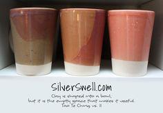 Stoneware cups - grape, watermellon and more, Spectrum Shino Glazes