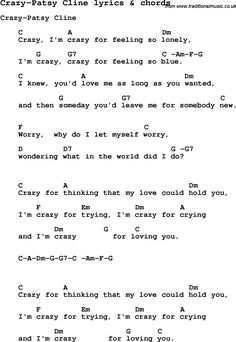 Love Song Lyrics for: Crazy-Patsy Cline with chords for Ukulele, Guitar Banjo etc.