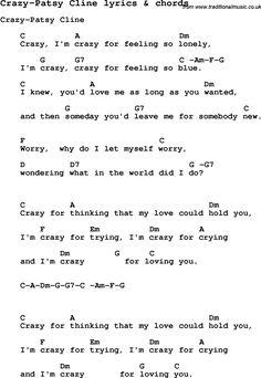 Love Song Lyrics for: Crazy-Patsy Cline with chords for Ukulele, Guitar Banjo etc.